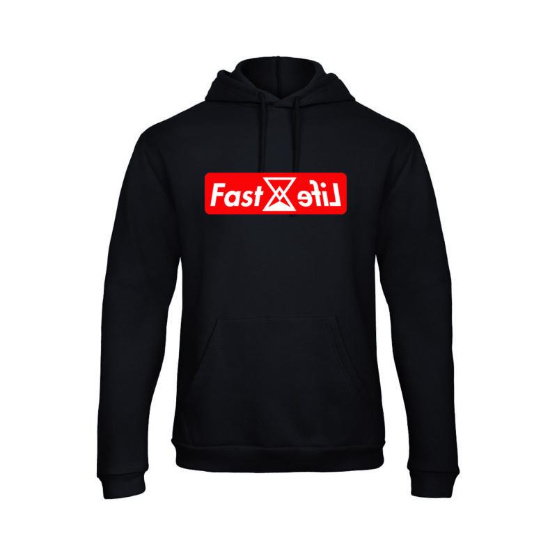Sweat capuche Hoodie fastlife noir Logo Box streetwear shoptonhiphop